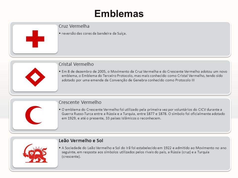 Emblemas Cruz Vermelha •reversão das cores da bandeira da Suíça. Cristal Vermelho •Em 8 de dezembro de 2005, o Movimento da Cruz Vermelha e do Crescen