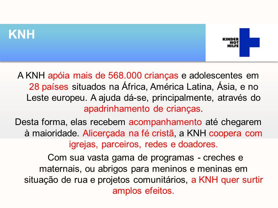 A KNH apóia mais de 568.000 crianças e adolescentes em 28 países situados na África, América Latina, Ásia, e no Leste europeu. A ajuda dá-se, principa