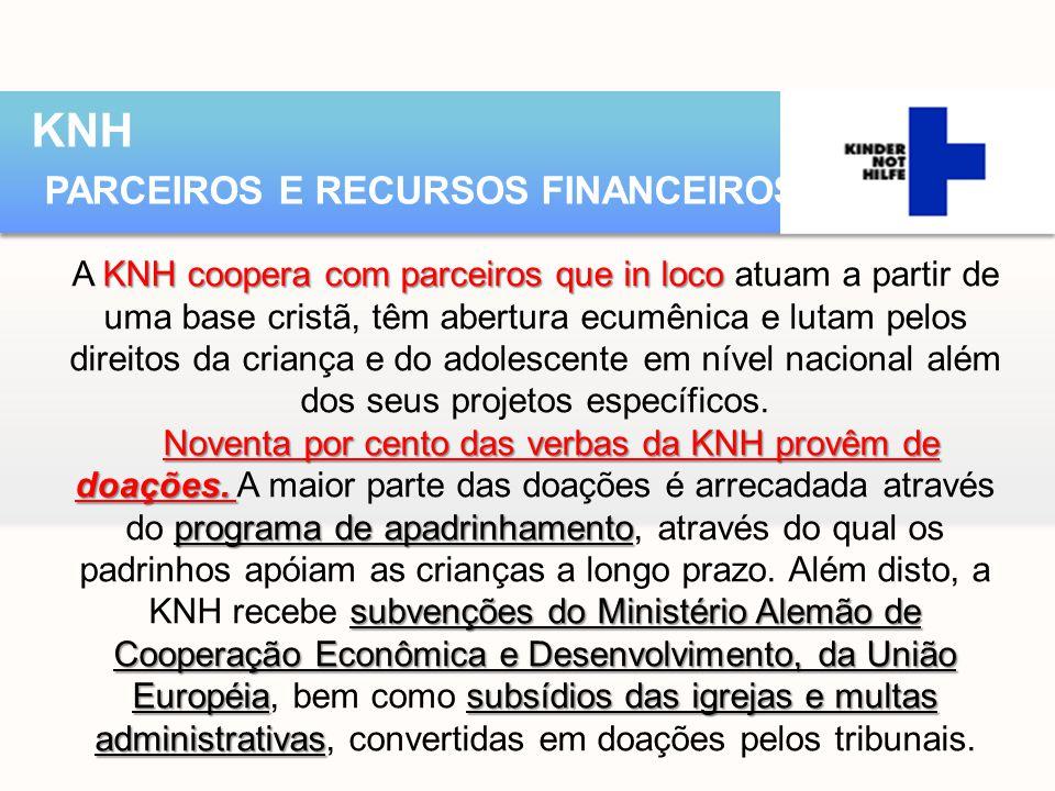 KNH coopera com parceiros que in loco A KNH coopera com parceiros que in loco atuam a partir de uma base cristã, têm abertura ecumênica e lutam pelos