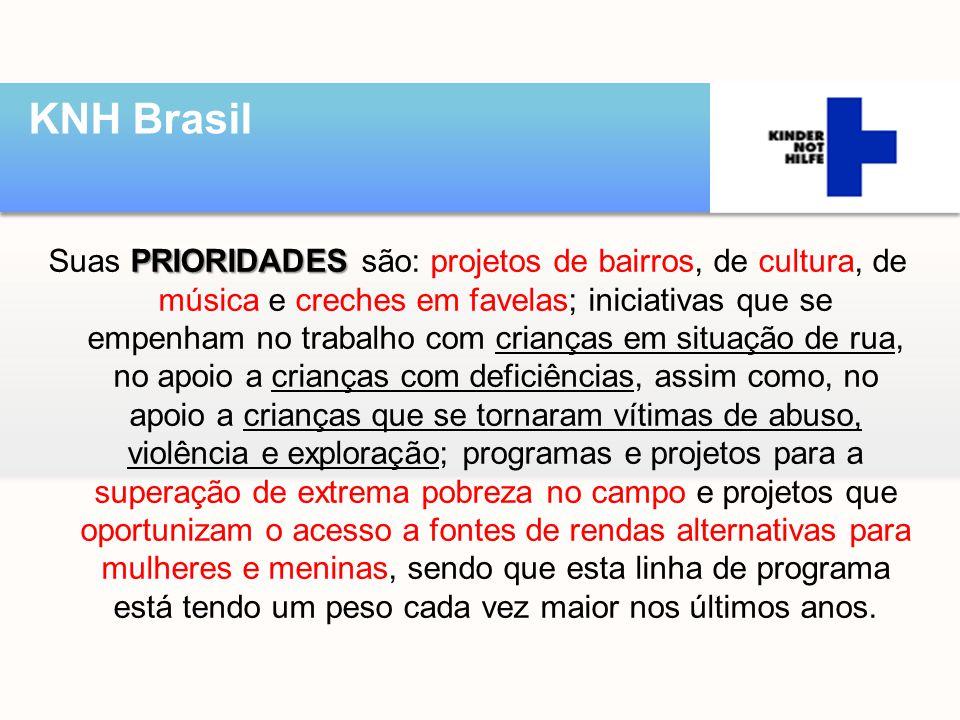 PRIORIDADES Suas PRIORIDADES são: projetos de bairros, de cultura, de música e creches em favelas; iniciativas que se empenham no trabalho com criança