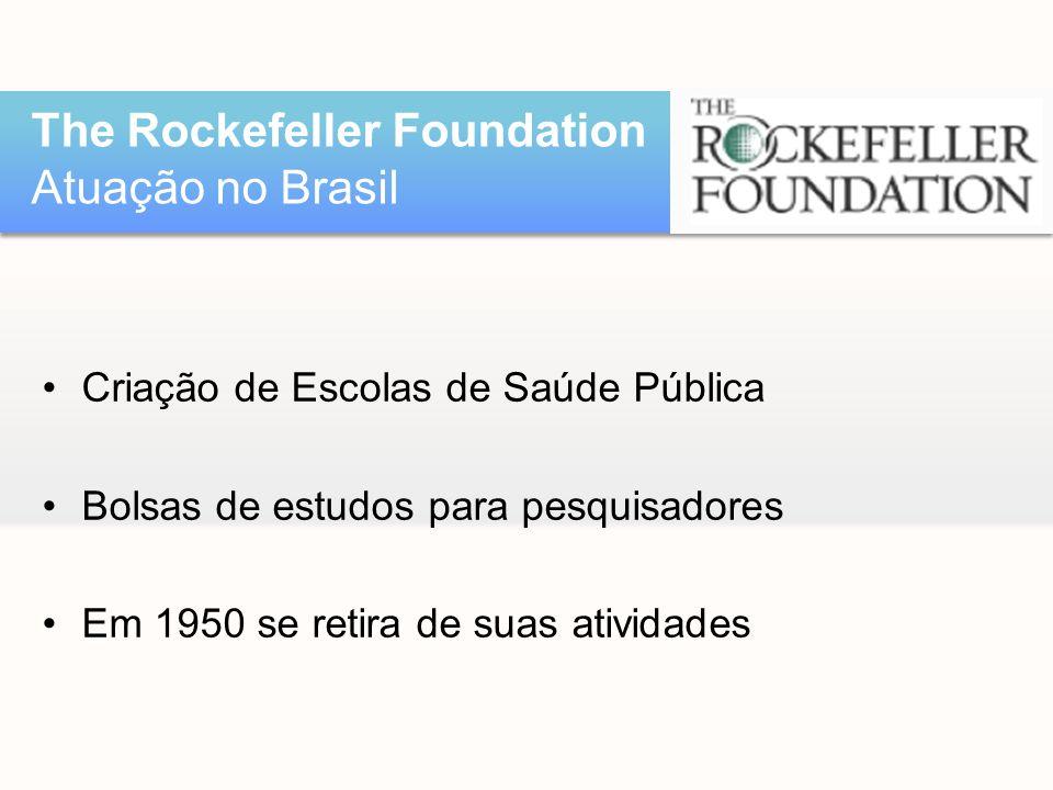 •Criação de Escolas de Saúde Pública •Bolsas de estudos para pesquisadores •Em 1950 se retira de suas atividades The Rockefeller Foundation Atuação no