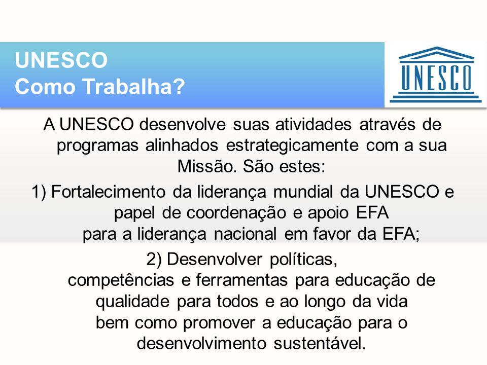 A UNESCO desenvolve suas atividades através de programas alinhados estrategicamente com a sua Missão. São estes: 1) Fortalecimento da liderança mundia