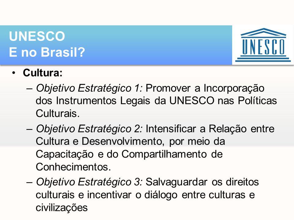 •Cultura: –Objetivo Estratégico 1: Promover a Incorporação dos Instrumentos Legais da UNESCO nas Políticas Culturais. –Objetivo Estratégico 2: Intensi