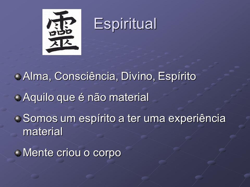 Espiritual Alma, Consciência, Divino, Espírito Aquilo que é não material Somos um espírito a ter uma experiência material Mente criou o corpo