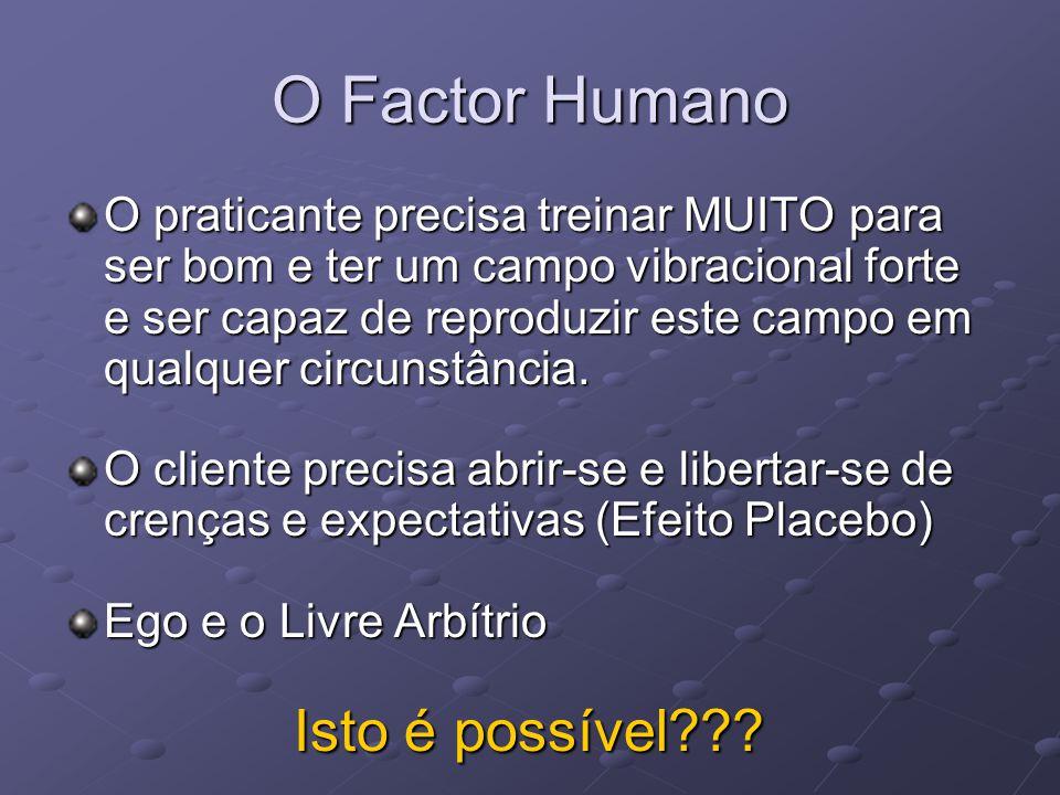 O Factor Humano O praticante precisa treinar MUITO para ser bom e ter um campo vibracional forte e ser capaz de reproduzir este campo em qualquer circ