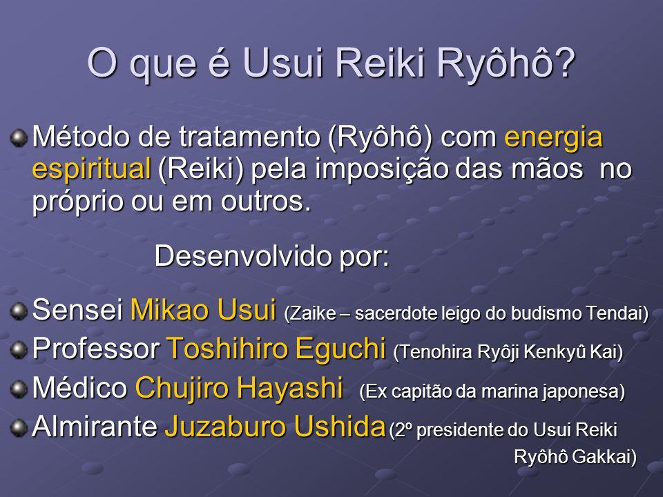 O que é Usui Reiki Ryôhô? Método de tratamento (Ryôhô) com energia espiritual (Reiki) pela imposição das mãos no próprio ou em outros. Desenvolvido po