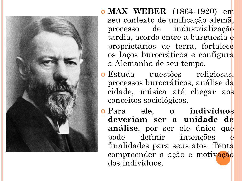 MAX WEBER (1864-1920) em seu contexto de unificação alemã, processo de industrialização tardia, acordo entre a burguesia e proprietários de terra, for