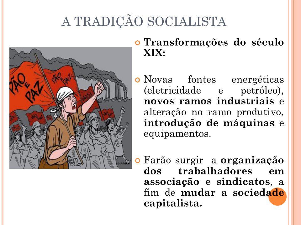 A TRADIÇÃO SOCIALISTA Transformações do século XIX: Novas fontes energéticas (eletricidade e petróleo), novos ramos industriais e alteração no ramo pr