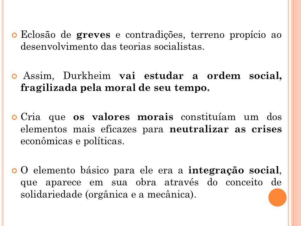 Eclosão de greves e contradições, terreno propício ao desenvolvimento das teorias socialistas. Assim, Durkheim vai estudar a ordem social, fragilizada