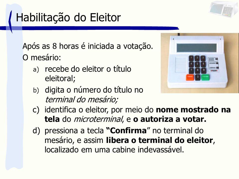 Habilitação do Eleitor Após as 8 horas é iniciada a votação. O mesário: a) recebe do eleitor o título eleitoral; b) digita o número do título no termi