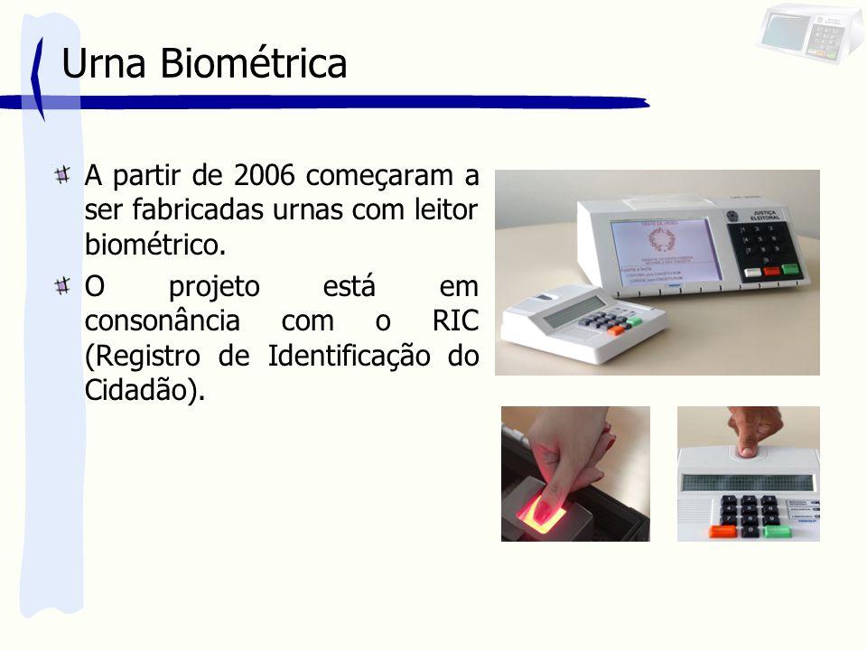 Urna Biométrica A partir de 2006 começaram a ser fabricadas urnas com leitor biométrico. O projeto está em consonância com o RIC (Registro de Identifi