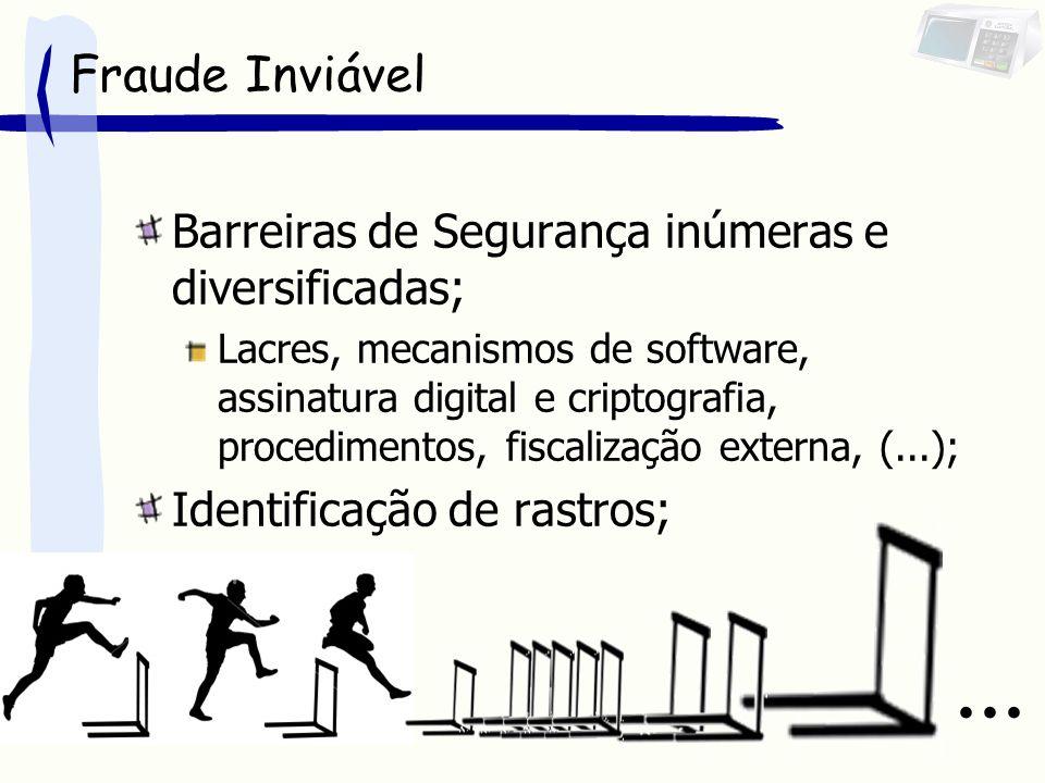 Fraude Inviável Barreiras de Segurança inúmeras e diversificadas; Lacres, mecanismos de software, assinatura digital e criptografia, procedimentos, fiscalização externa, (...); Identificação de rastros;...