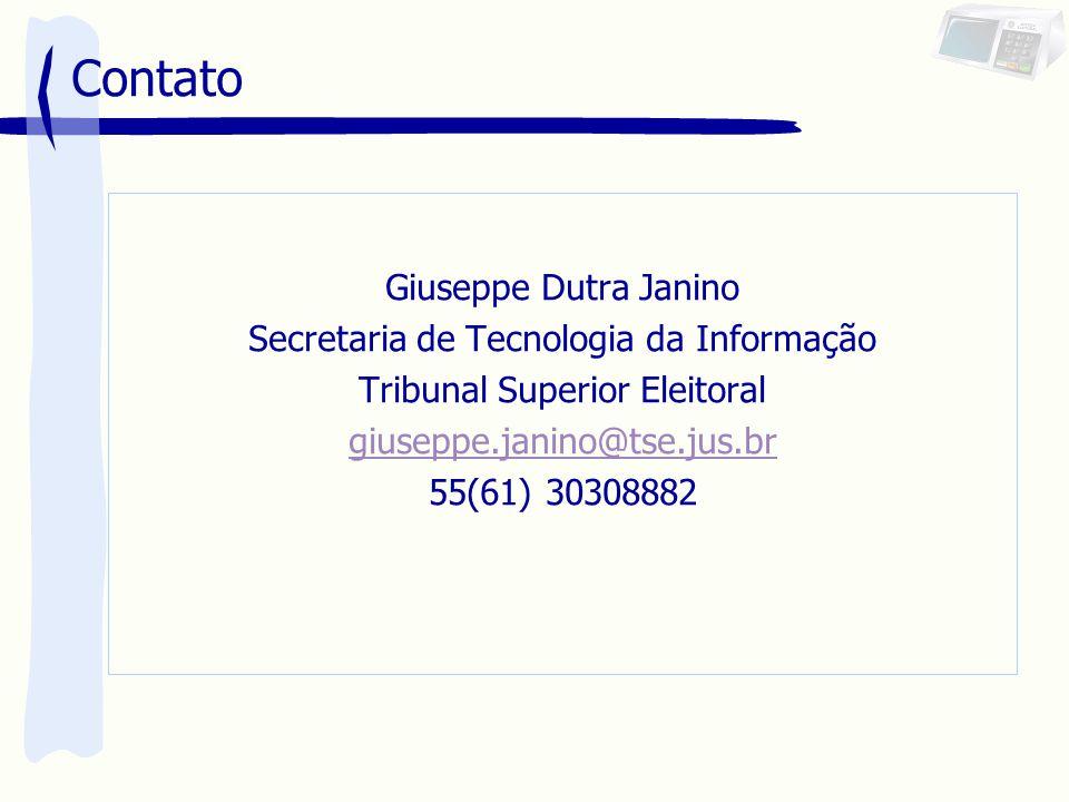 Contato Giuseppe Dutra Janino Secretaria de Tecnologia da Informação Tribunal Superior Eleitoral giuseppe.janino@tse.jus.br 55(61) 30308882