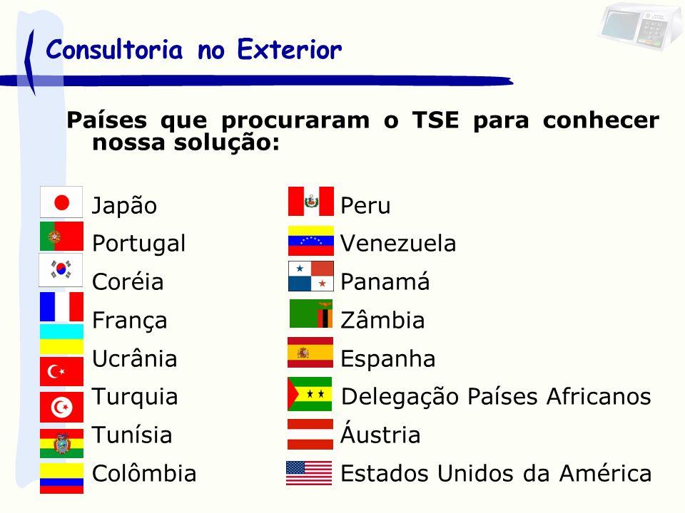 Países que procuraram o TSE para conhecer nossa solução: JapãoPeru PortugalVenezuela CoréiaPanamá FrançaZâmbia UcrâniaEspanha Turquia Delegação Países Africanos Tunísia Áustria ColômbiaEstados Unidos da América Consultoria no Exterior
