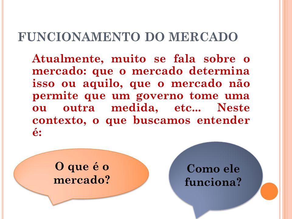 FUNCIONAMENTO DO MERCADO Atualmente, muito se fala sobre o mercado: que o mercado determina isso ou aquilo, que o mercado não permite que um governo t