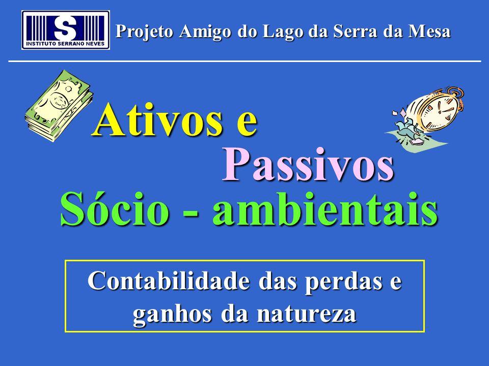 Projeto Amigo do Lago da Serra da Mesa Ativos e Passivos Sócio - ambientais Contabilidade das perdas e ganhos da natureza