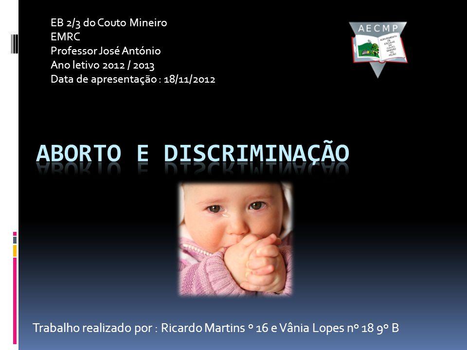 Trabalho realizado por : Ricardo Martins º 16 e Vânia Lopes nº 18 9º B EB 2/3 do Couto Mineiro EMRC Professor José António Ano letivo 2012 / 2013 Data