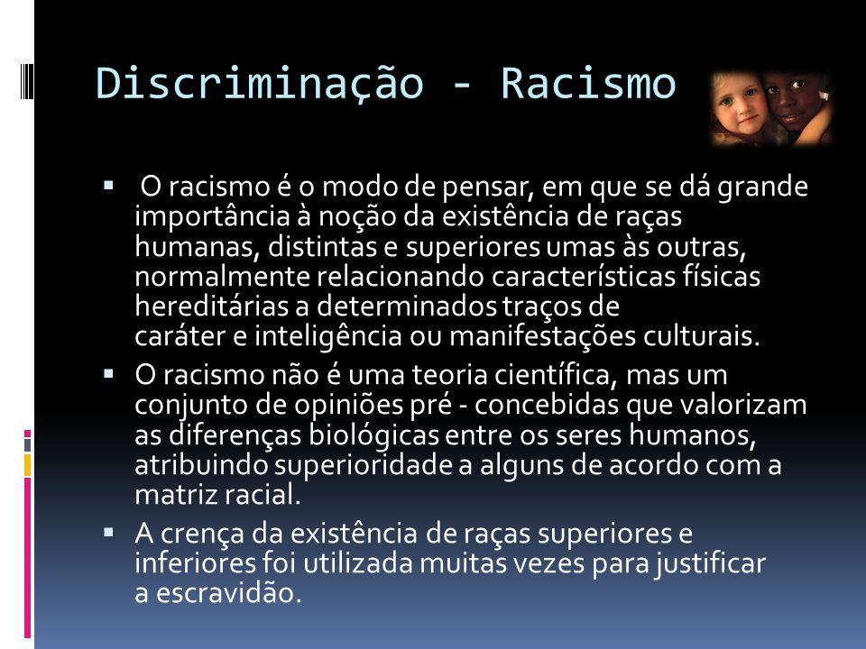 Discriminação - Racismo  O racismo é o modo de pensar, em que se dá grande importância à noção da existência de raças humanas, distintas e superiores umas às outras, normalmente relacionando características físicas hereditárias a determinados traços de caráter e inteligência ou manifestações culturais.