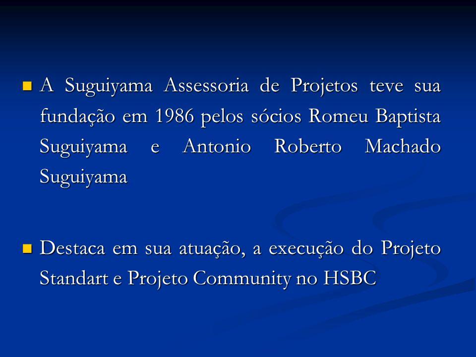  A Suguiyama Assessoria de Projetos teve sua fundação em 1986 pelos sócios Romeu Baptista Suguiyama e Antonio Roberto Machado Suguiyama  Destaca em