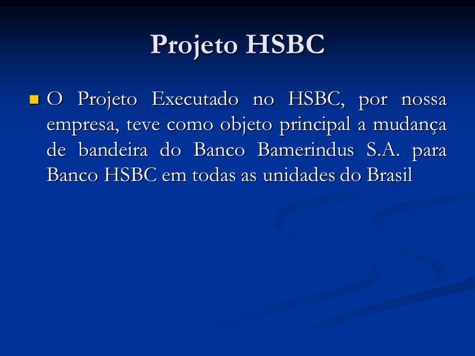 Projeto HSBC  O Projeto Executado no HSBC, por nossa empresa, teve como objeto principal a mudança de bandeira do Banco Bamerindus S.A. para Banco HS