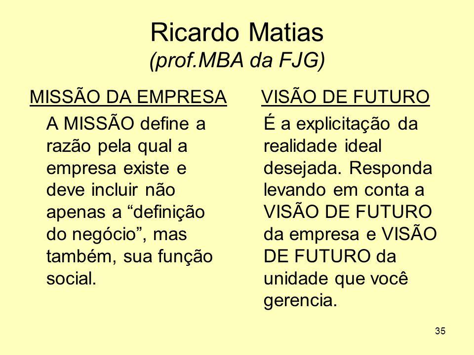 """35 Ricardo Matias (prof.MBA da FJG) MISSÃO DA EMPRESA A MISSÃO define a razão pela qual a empresa existe e deve incluir não apenas a """"definição do neg"""