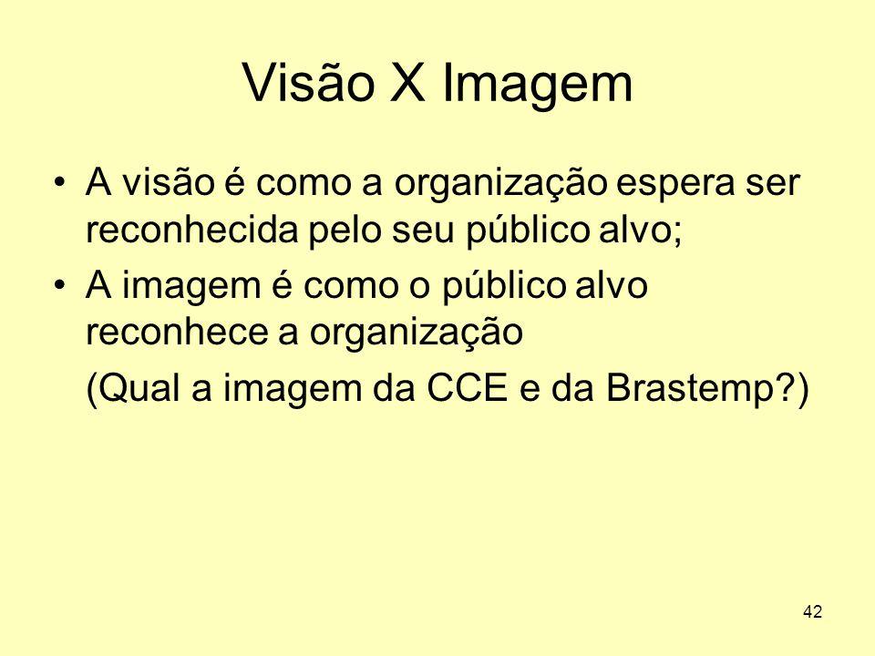 42 Visão X Imagem •A visão é como a organização espera ser reconhecida pelo seu público alvo; •A imagem é como o público alvo reconhece a organização