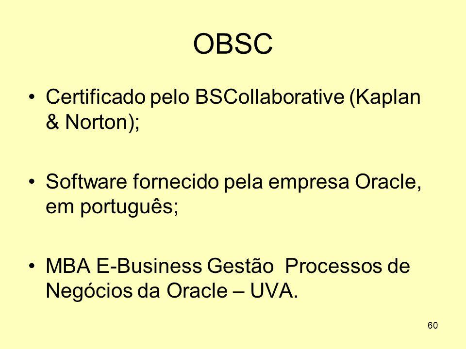 60 OBSC •Certificado pelo BSCollaborative (Kaplan & Norton); •Software fornecido pela empresa Oracle, em português; •MBA E-Business Gestão Processos d
