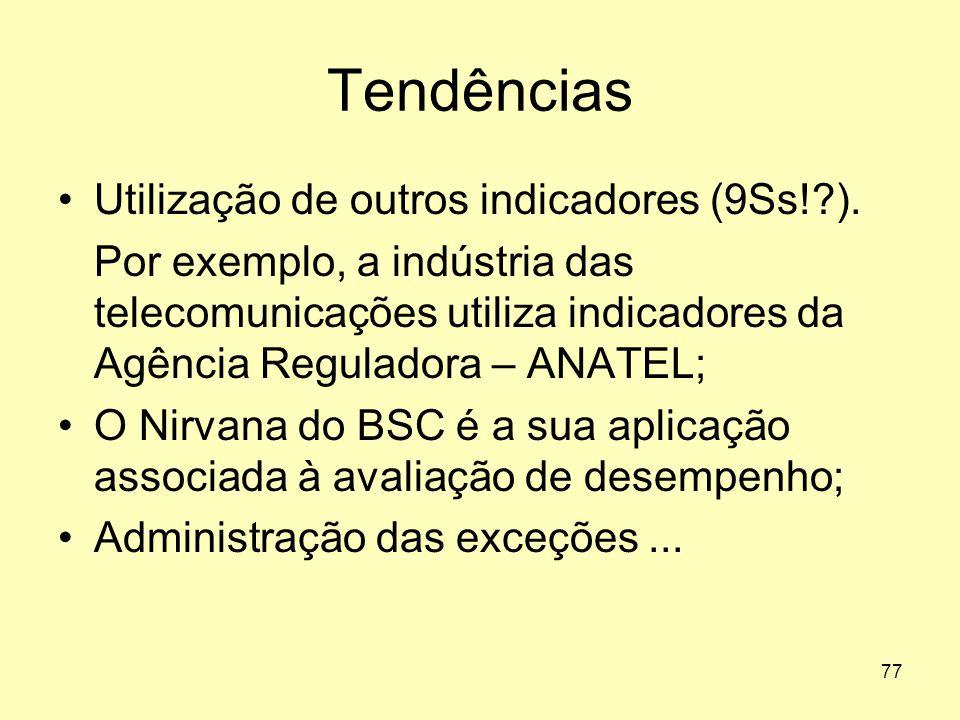77 Tendências •Utilização de outros indicadores (9Ss!?). Por exemplo, a indústria das telecomunicações utiliza indicadores da Agência Reguladora – ANA