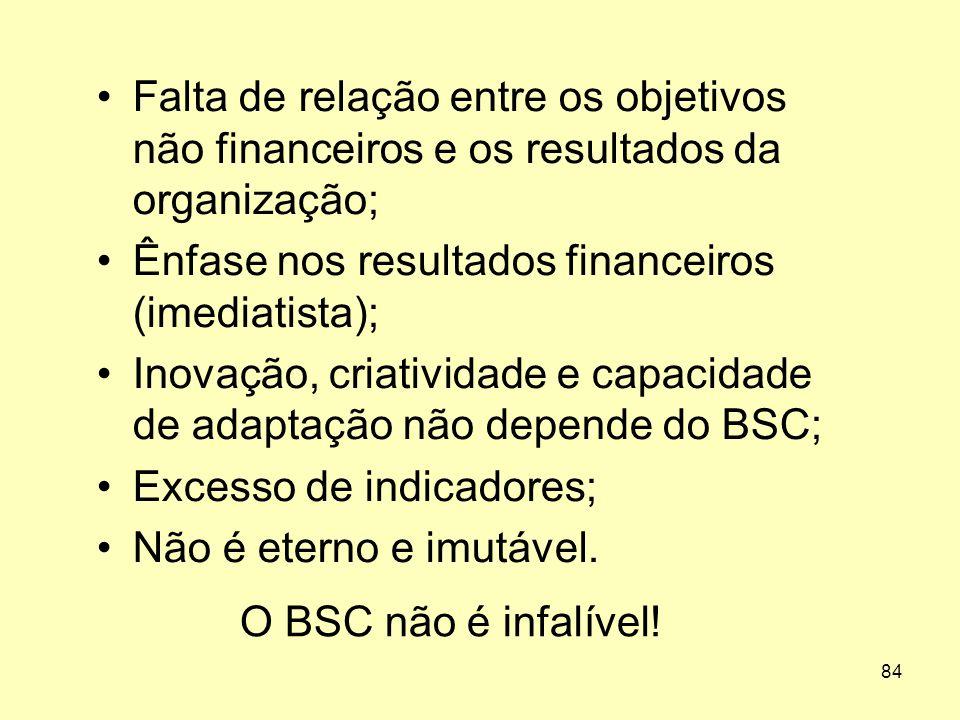 84 O BSC não é infalível! •Falta de relação entre os objetivos não financeiros e os resultados da organização; •Ênfase nos resultados financeiros (ime