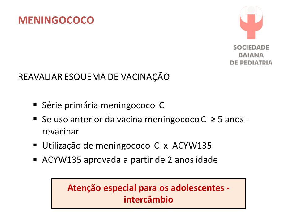 MENINGOCOCO REAVALIAR ESQUEMA DE VACINAÇÃO  Série primária meningococo C  Se uso anterior da vacina meningococo C ≥ 5 anos - revacinar  Utilização