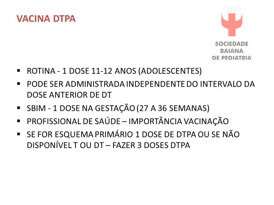 VACINA DTPA  ROTINA - 1 DOSE 11-12 ANOS (ADOLESCENTES)  PODE SER ADMINISTRADA INDEPENDENTE DO INTERVALO DA DOSE ANTERIOR DE DT  SBIM - 1 DOSE NA GE