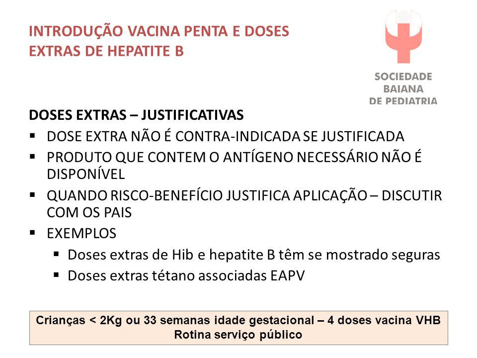 INTRODUÇÃO VACINA PENTA E DOSES EXTRAS DE HEPATITE B DOSES EXTRAS – JUSTIFICATIVAS  DOSE EXTRA NÃO É CONTRA-INDICADA SE JUSTIFICADA  PRODUTO QUE CON