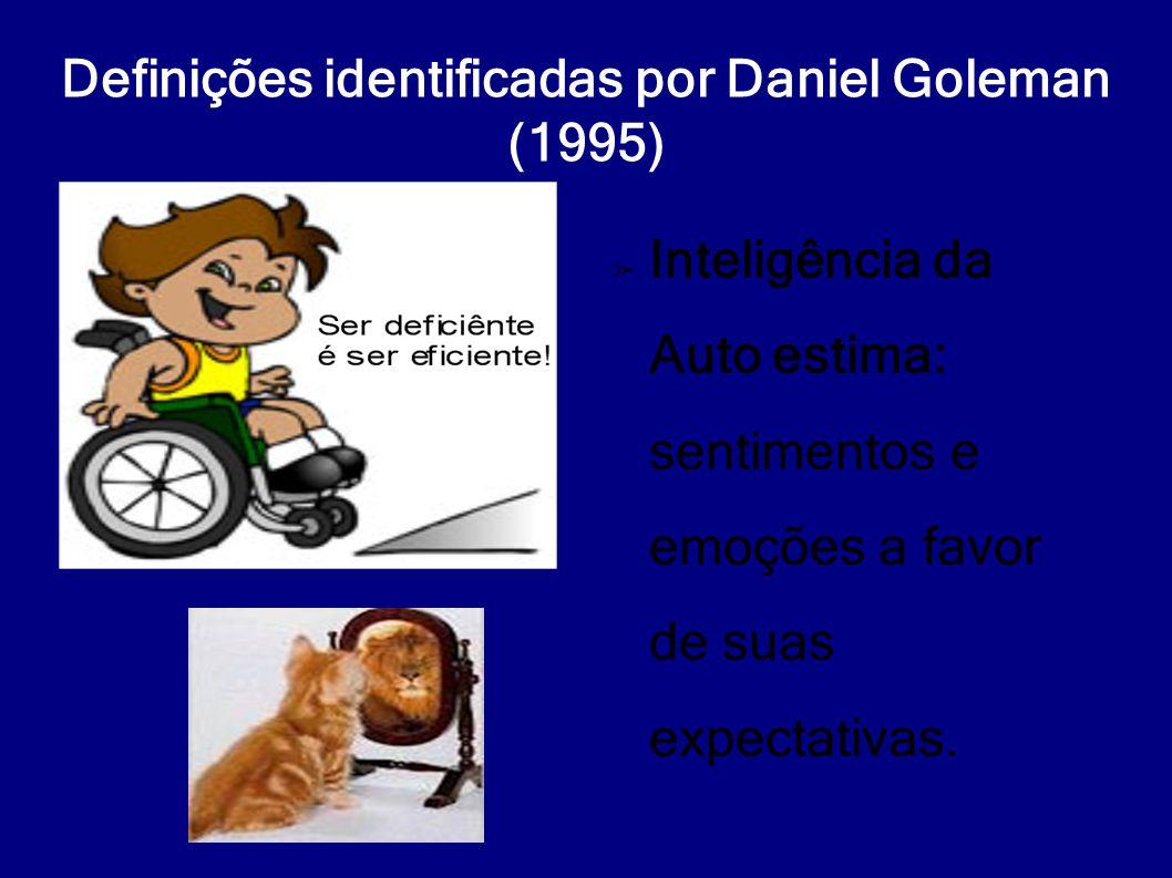 Definições identificadas por Daniel Goleman (1995) ➢ Inteligência da Auto estima: sentimentos e emoções a favor de suas expectativas.