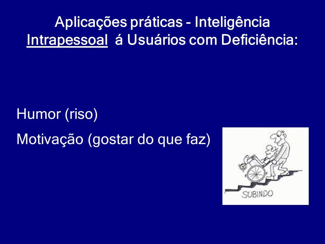 Aplicações práticas - Inteligência Intrapessoal á Usuários com Deficiência: Humor (riso) Motivação (gostar do que faz)