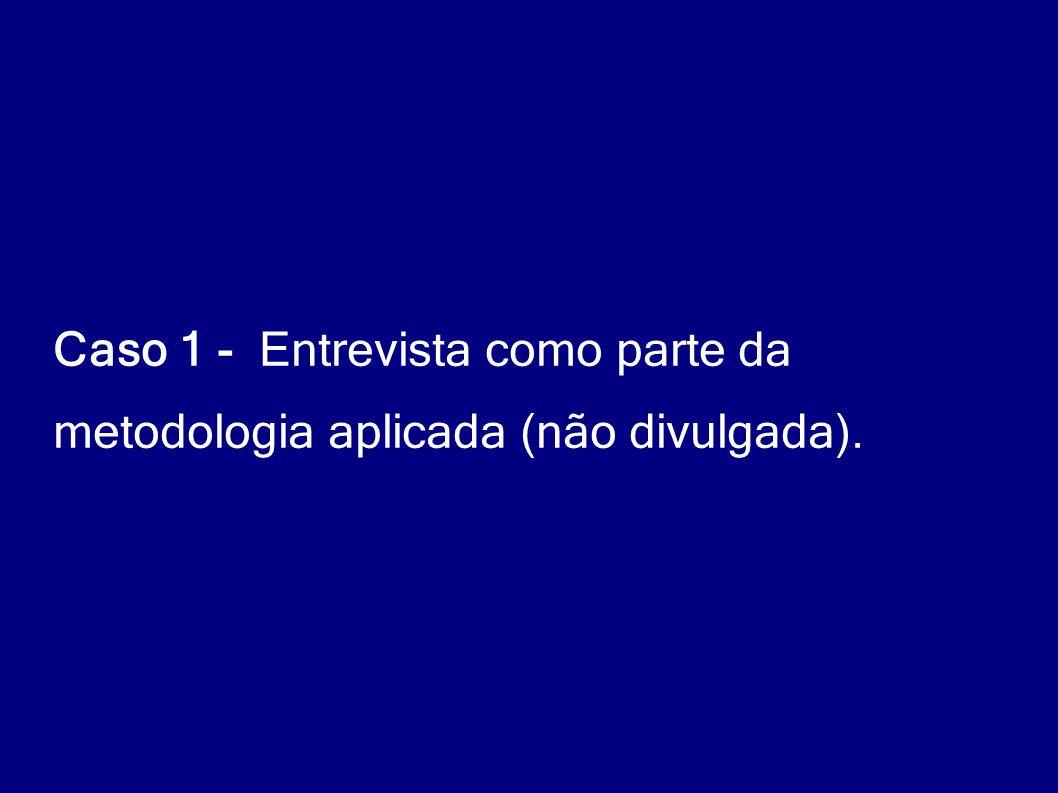 Caso 1 - Entrevista como parte da metodologia aplicada (não divulgada).