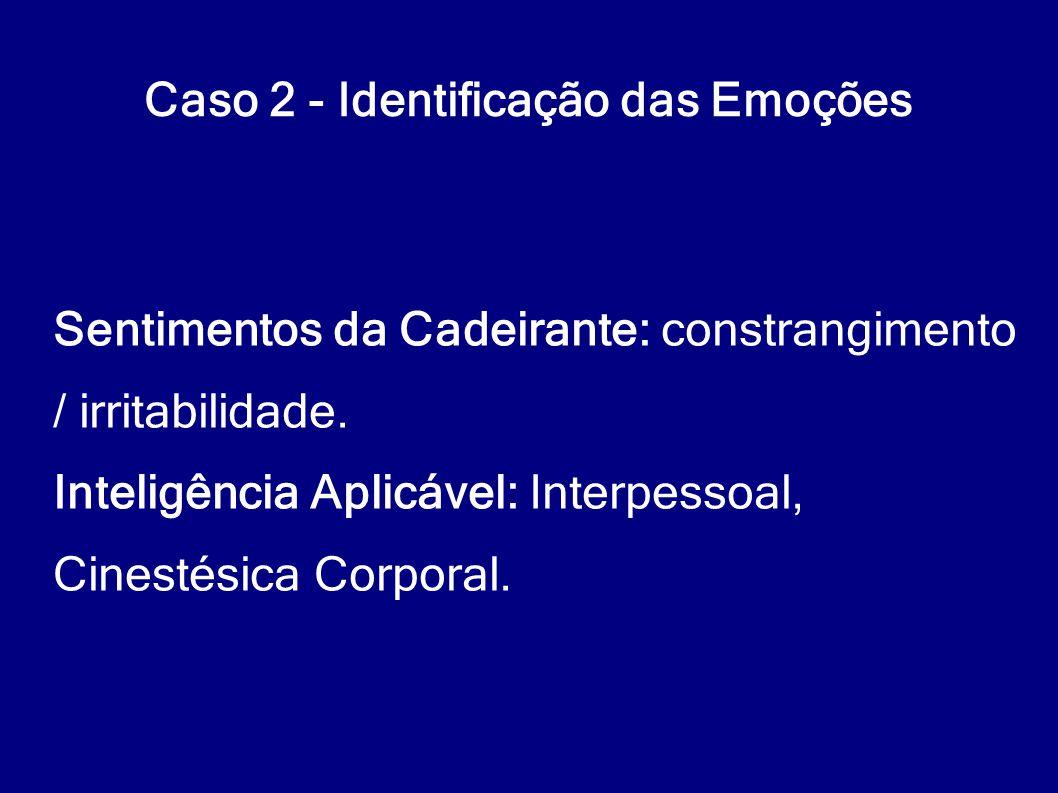 Caso 2 - Identificação das Emoções Sentimentos da Cadeirante: constrangimento / irritabilidade. Inteligência Aplicável: Interpessoal, Cinestésica Corp