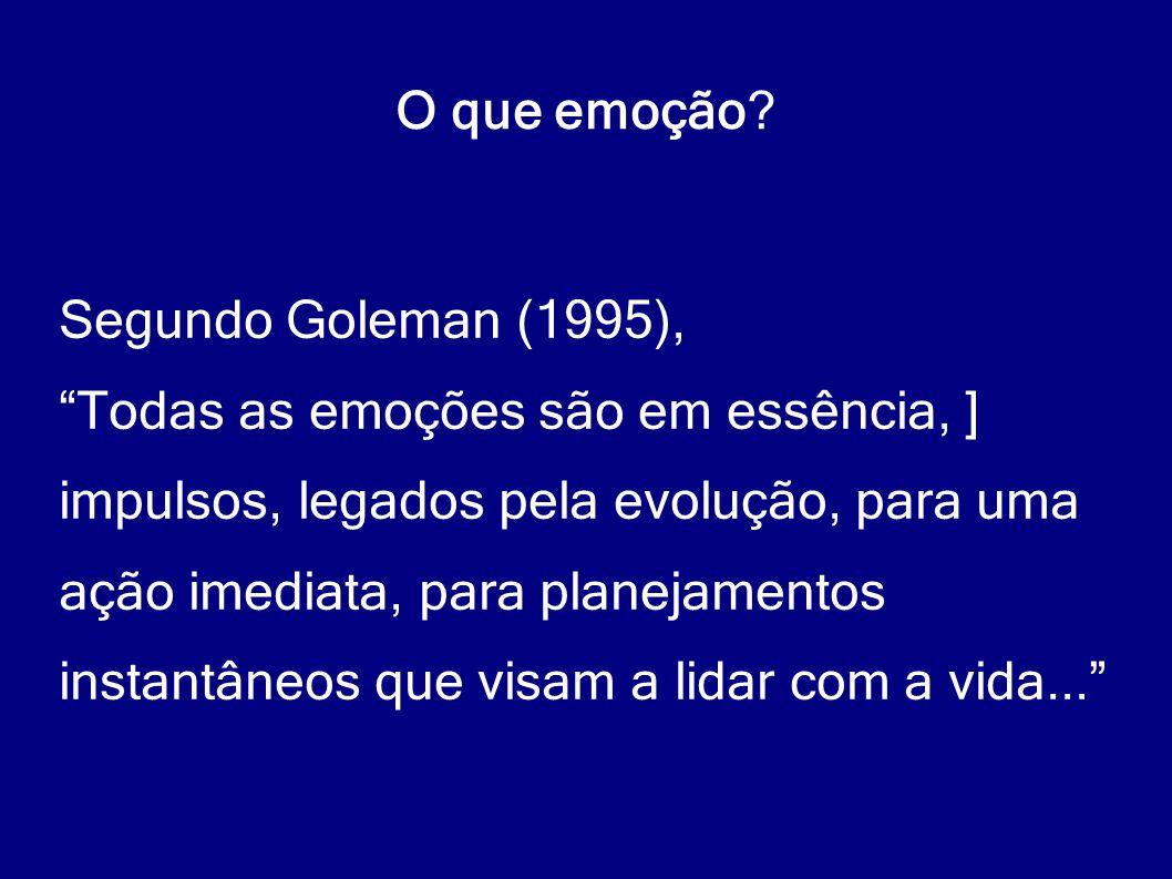 """O que emoção? Segundo Goleman (1995), """"Todas as emoções são em essência, ] impulsos, legados pela evolução, para uma ação imediata, para planejamentos"""
