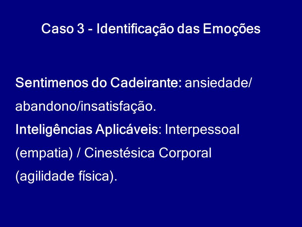 Caso 3 - Identificação das Emoções Sentimenos do Cadeirante: ansiedade/ abandono/insatisfação. Inteligências Aplicáveis: Interpessoal (empatia) / Cine
