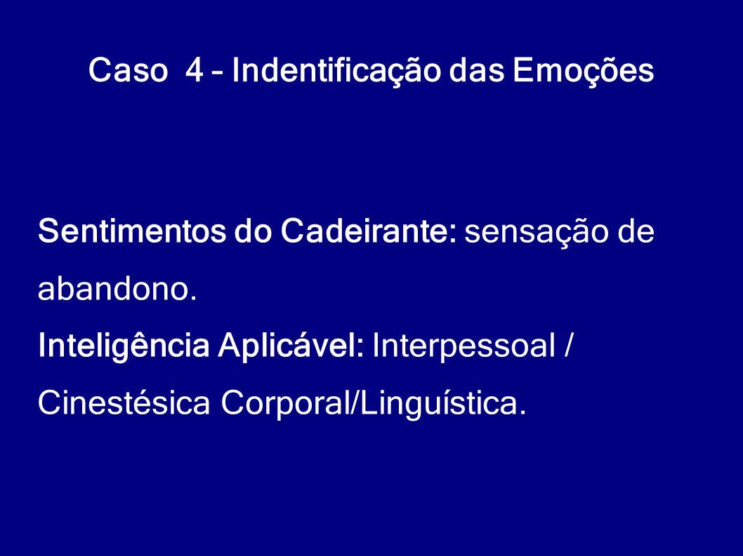 Caso 4 – Indentificação das Emoções Sentimentos do Cadeirante: sensação de abandono. Inteligência Aplicável: Interpessoal / Cinestésica Corporal/Lingu