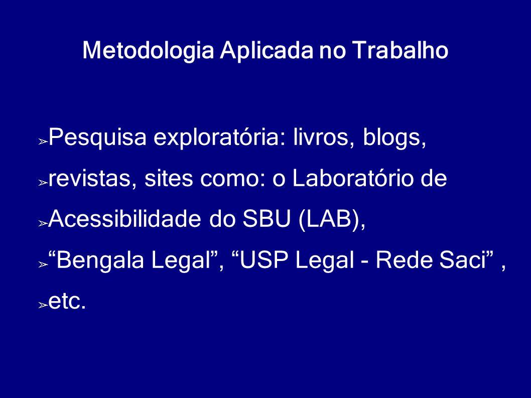 """Metodologia Aplicada no Trabalho ➢ Pesquisa exploratória: livros, blogs, ➢ revistas, sites como: o Laboratório de ➢ Acessibilidade do SBU (LAB), ➢ """"Be"""