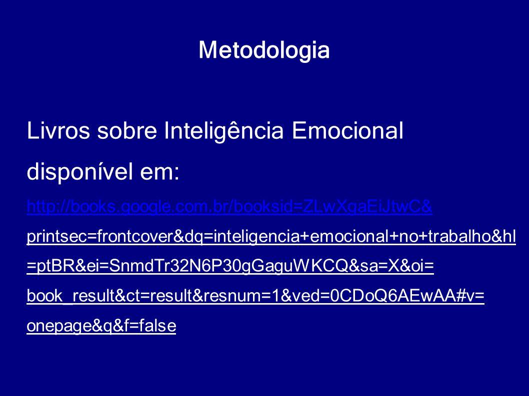 Metodologia Livros sobre Inteligência Emocional disponível em: http://books.google.com.br/booksid=ZLwXgaEiJtwC& printsec=frontcover&dq=inteligencia+em