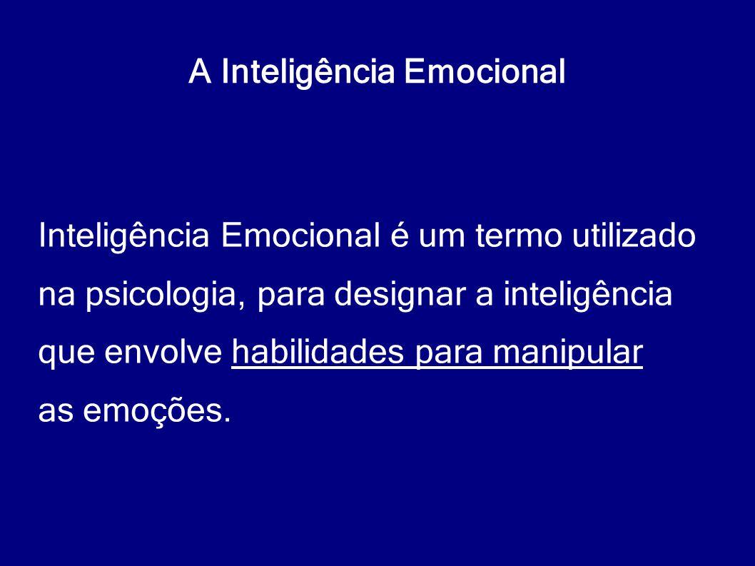 A Inteligência Emocional Inteligência Emocional é um termo utilizado na psicologia, para designar a inteligência que envolve habilidades para manipula