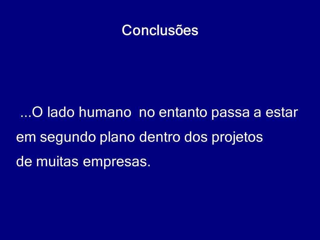 Conclusões...O lado humano no entanto passa a estar em segundo plano dentro dos projetos de muitas empresas.