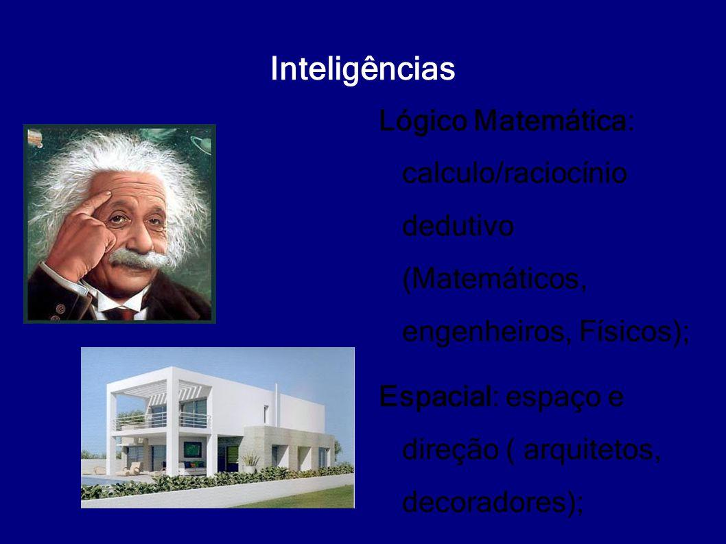 Inteligências Lógico Matemática: calculo/raciocínio dedutivo (Matemáticos, engenheiros, Físicos); Espacial: espaço e direção ( arquitetos, decoradores