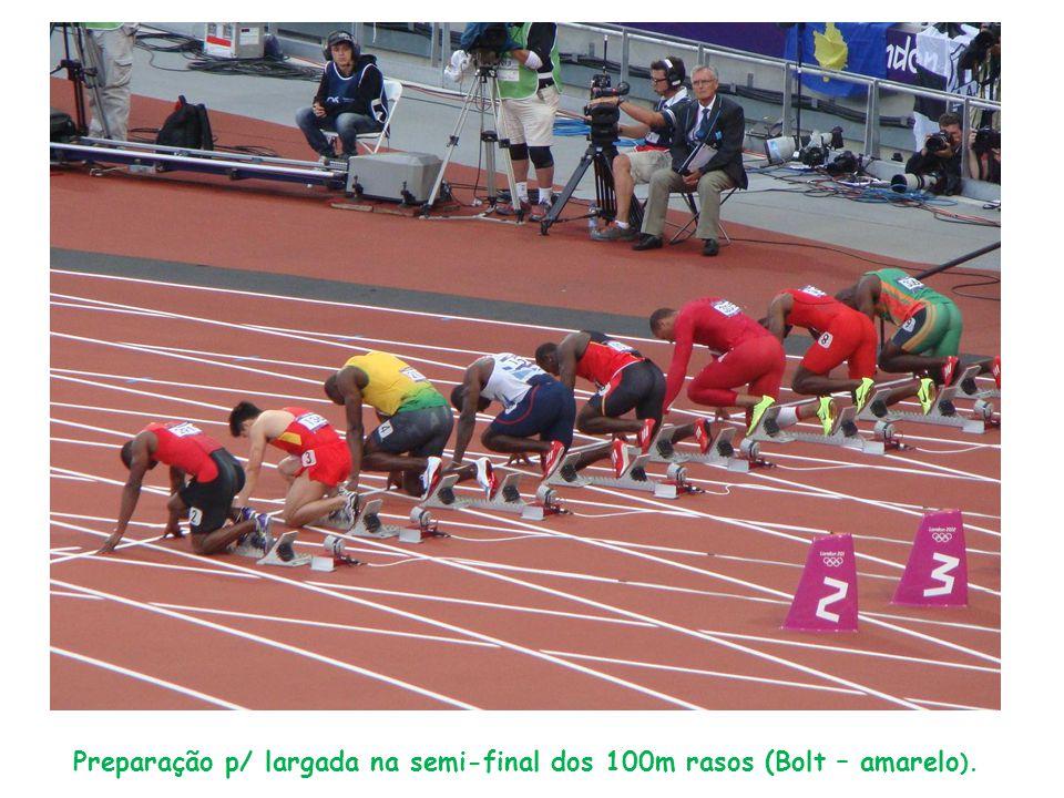 Preparação p/ largada na semi-final dos 100m rasos (Bolt – amarelo ).