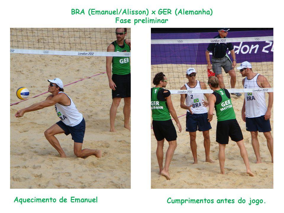 Aquecimento de Emanuel BRA (Emanuel/Alisson) x GER (Alemanha) Fase preliminar Cumprimentos antes do jogo.