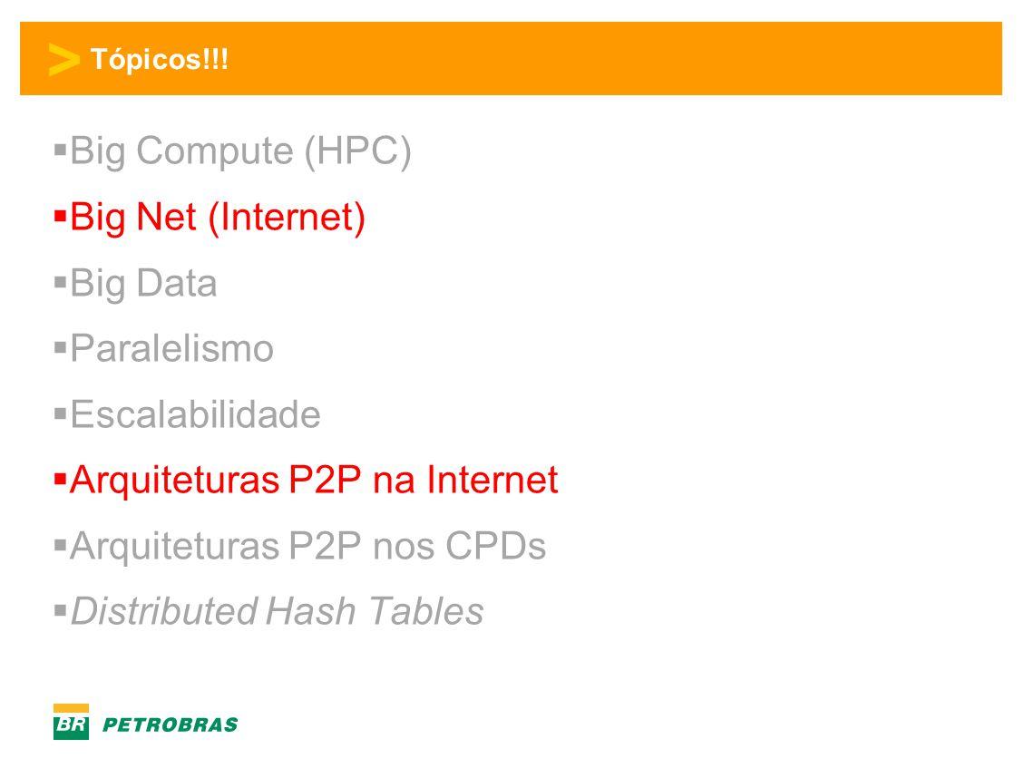 > Tópicos!!!  Big Compute (HPC)  Big Net (Internet)  Big Data  Paralelismo  Escalabilidade  Arquiteturas P2P na Internet  Arquiteturas P2P nos