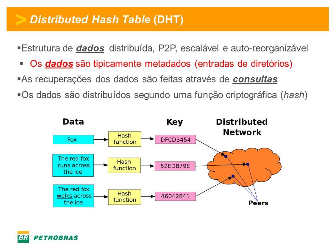 > Distributed Hash Table (DHT)  Estrutura de dados distribuída, P2P, escalável e auto-reorganizável  Os dados são tipicamente metadados (entradas de