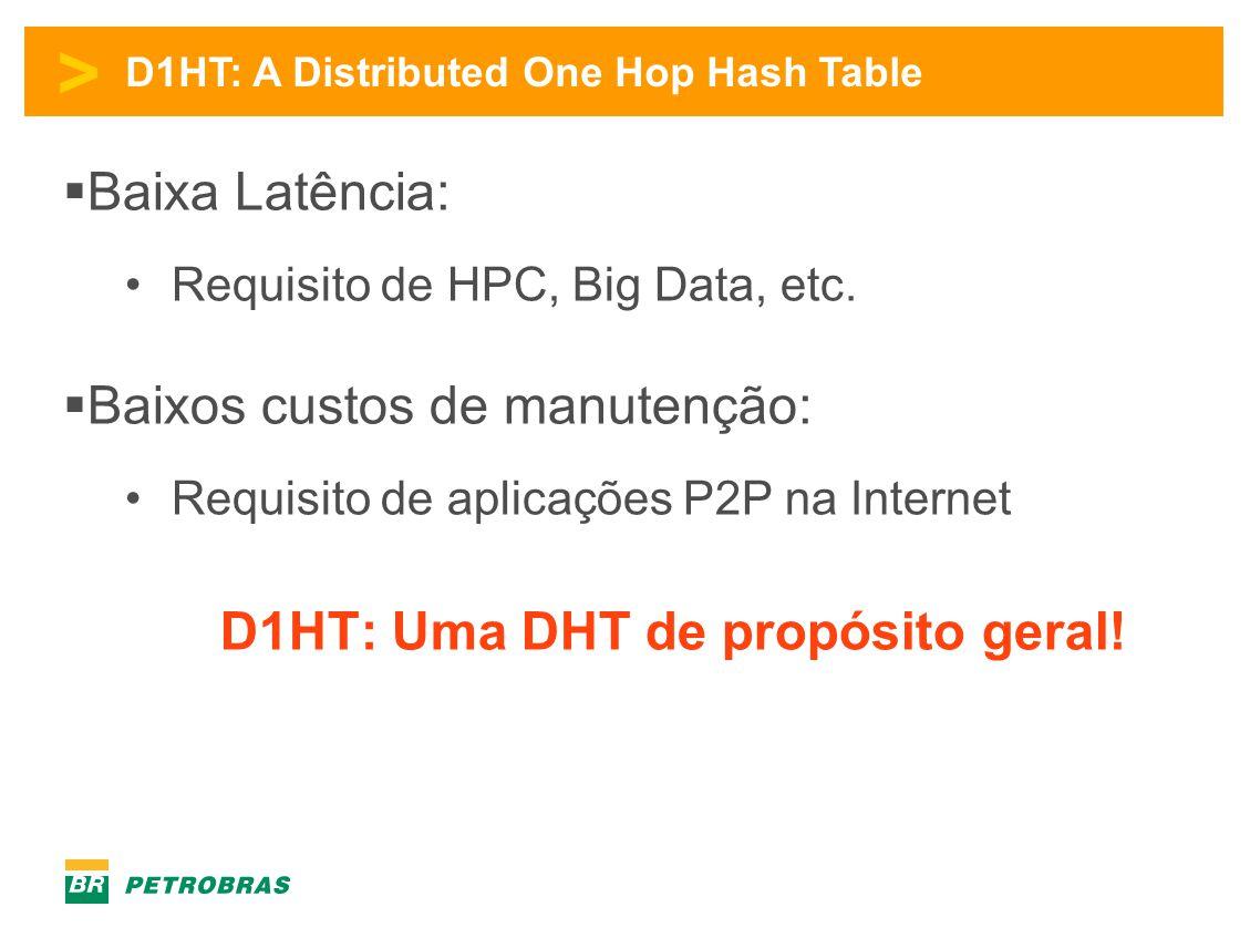 > D1HT: A Distributed One Hop Hash Table  Baixa Latência: •Requisito de HPC, Big Data, etc.  Baixos custos de manutenção: •Requisito de aplicações P
