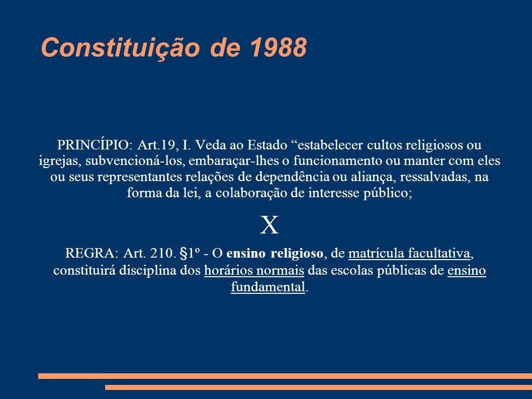 """Constituição de 1988 PRINCÍPIO: Art.19, I. Veda ao Estado """"estabelecer cultos religiosos ou igrejas, subvencioná-los, embaraçar-lhes o funcionamento o"""